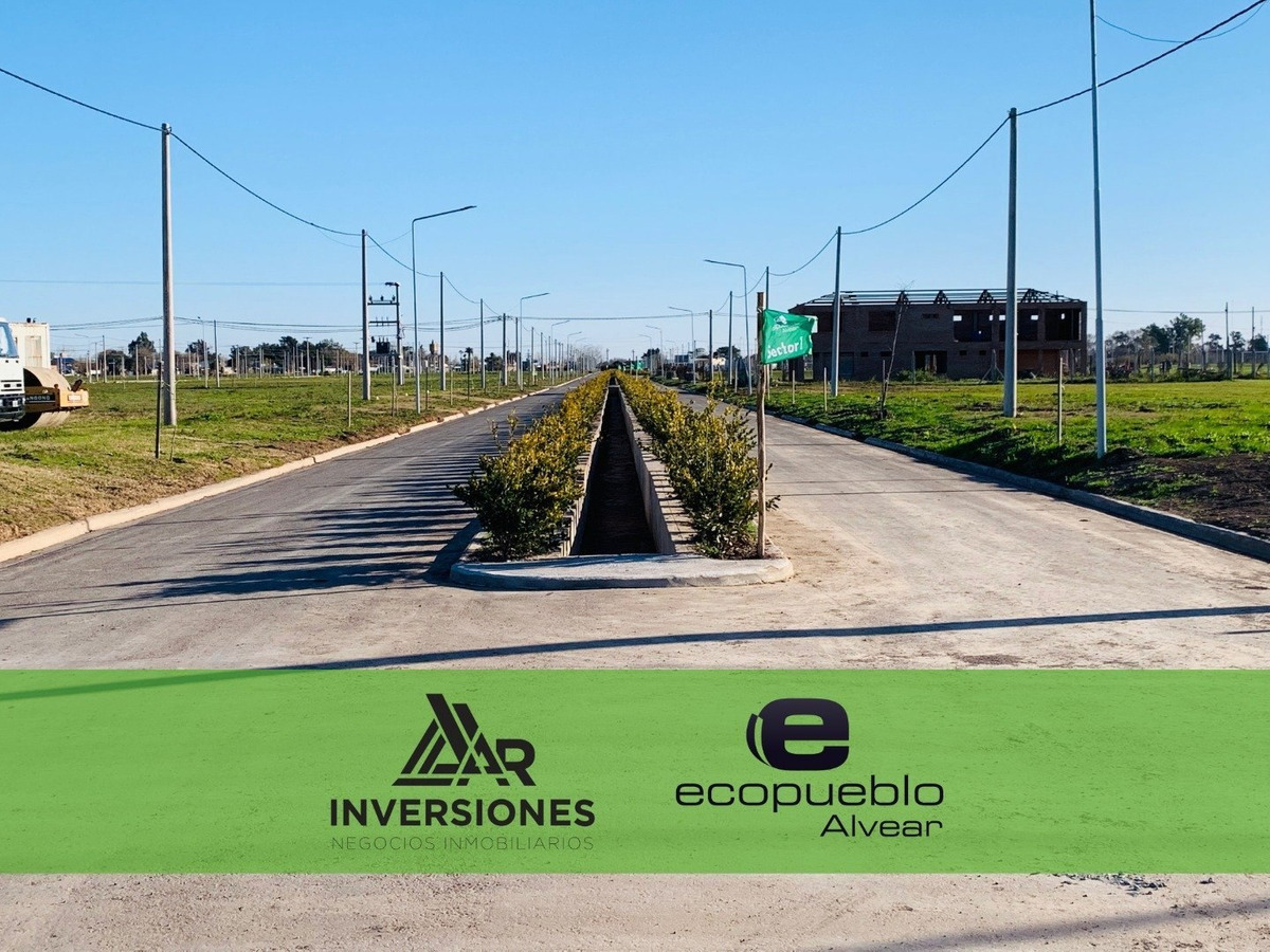 barrio abierto ecopueblo. localidad de alvear. terreno con todos los servicios de 300 m2.