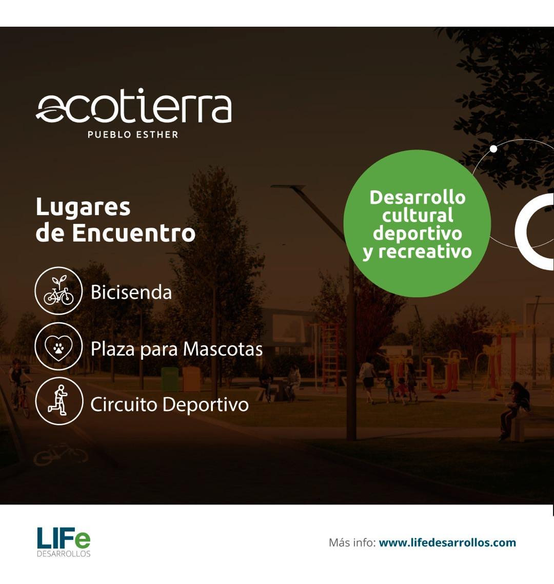 barrio abierto en pueblo esther - unico por sus servicios y excelente plan de financiacion en pesos - ecotierra