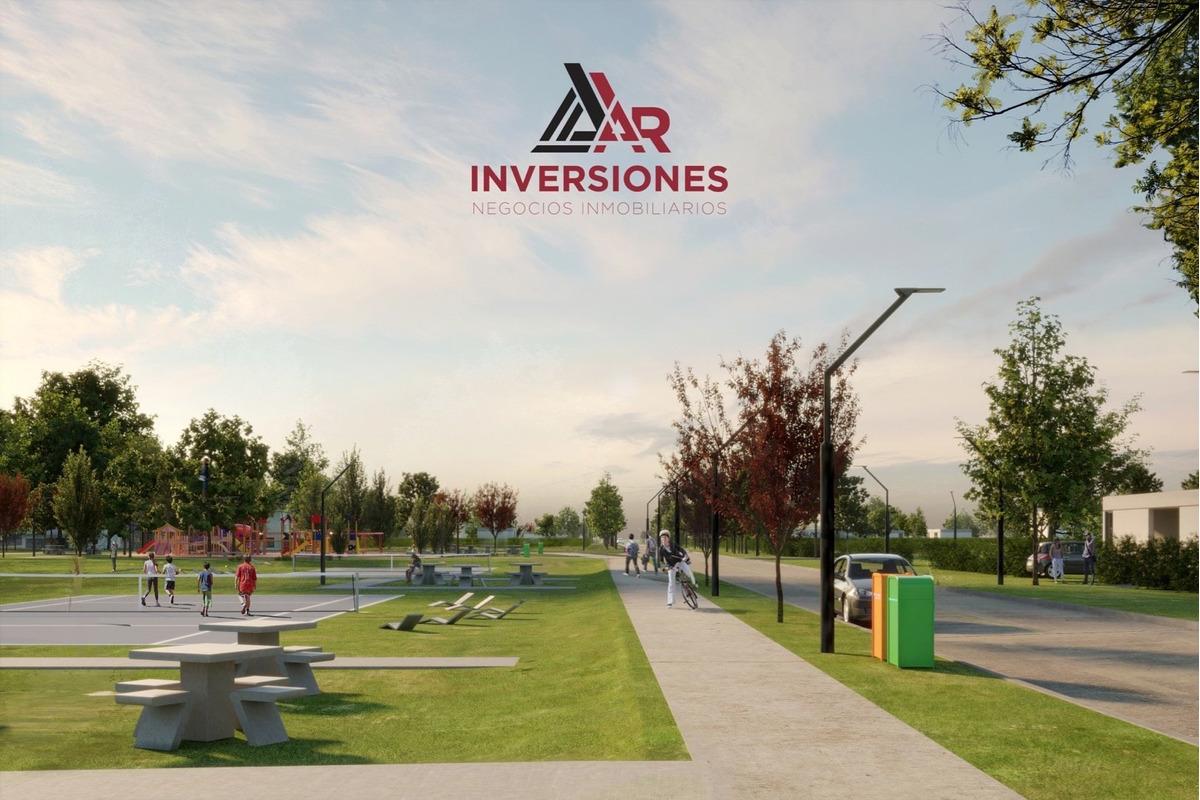 barrio residencial abierto ecotierra terreno financiado en pesos. lote sobre avenida con habilitacion comercial.