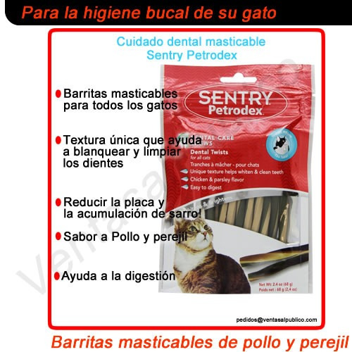 barritas masticables para la higiene bucal de su gato
