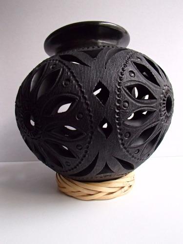 barro negro oaxaqueño - bella olla cántaro grabado de flor.