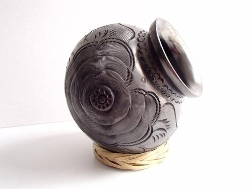 barro negro olla decorativa con diseño de flor hecha a mano!
