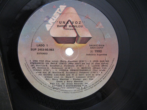 barry manilow - one voice (arista 2453-sup-80.063)