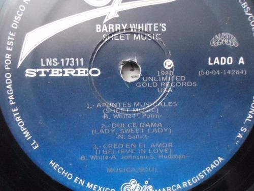 barry white / sheet music vinyl lp acetato