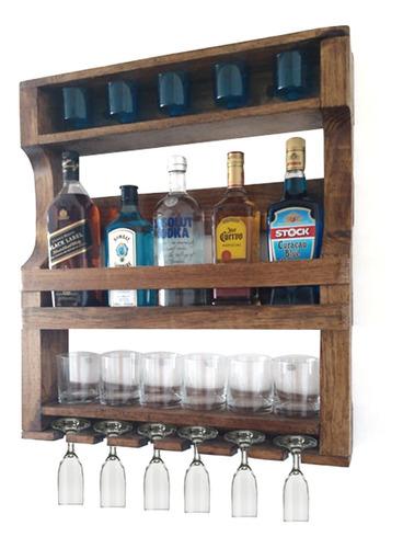barzinho adega parede madeira rústico suporte copo taças bar