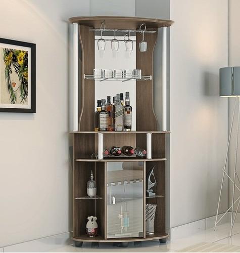 Barzinho bar adega de canto talism cor avel r 369 89 for Bar de madera para sala