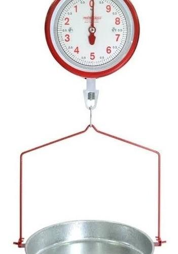 báscula colgante con charola de 20 kg  color cromado y roja