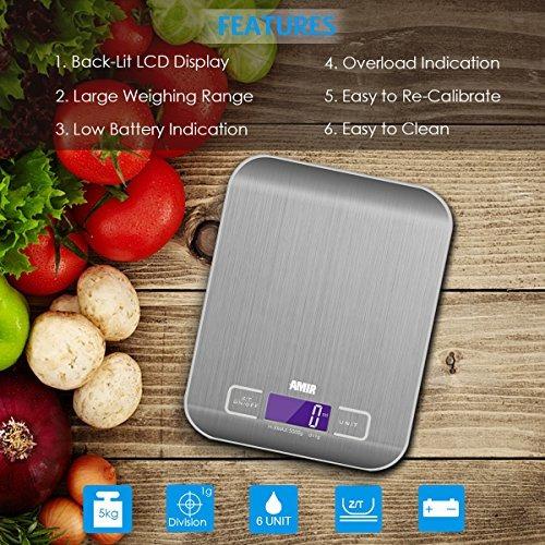 báscula de cocina digital amir, 5 kg, escala de cocción d