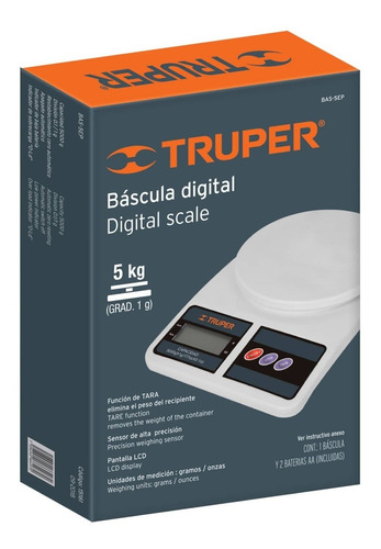 báscula digital base plástica para cocina 5kg truper 15161