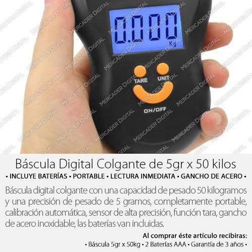 bascula digital colgante 5gr x 50kg kilos + envío gratis
