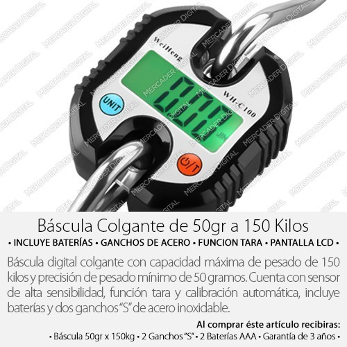 báscula digital colgante de 150 kilos - 50gr x 150kg + pilas