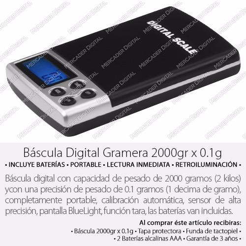 bascula digital gramera 0.1gr x 2000gr - 0.1 x 2000 gramos