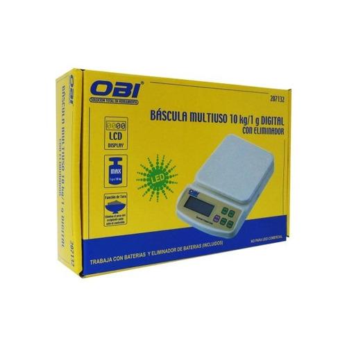 bascula multiuso 10 kg a 1gr digital eliminador baterias obi