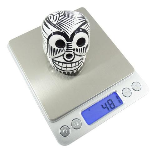 bascula multiusos gramera 2 kg digital plata cromada obi