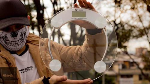 báscula personal scale vidrio redondo