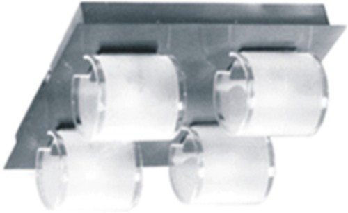 base acero con 3 spots vidrio y bipin 220 v listo p instalar