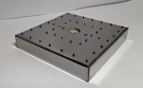 base aço inox 15 cm quadrada para lustres 40 furos