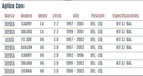base amortiguador del izq toyota avalon v6 3.0 1997-2003 vzl
