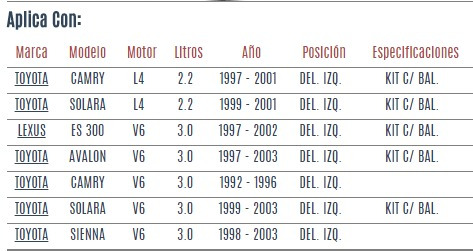 base amortiguador del izq toyota sienna v6 3.0 1998-2003 vzl