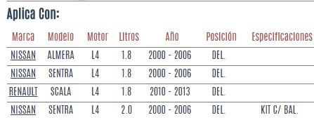 base amortiguador del nissan sentra l4 1.8 2.0 2000-2006 vzl