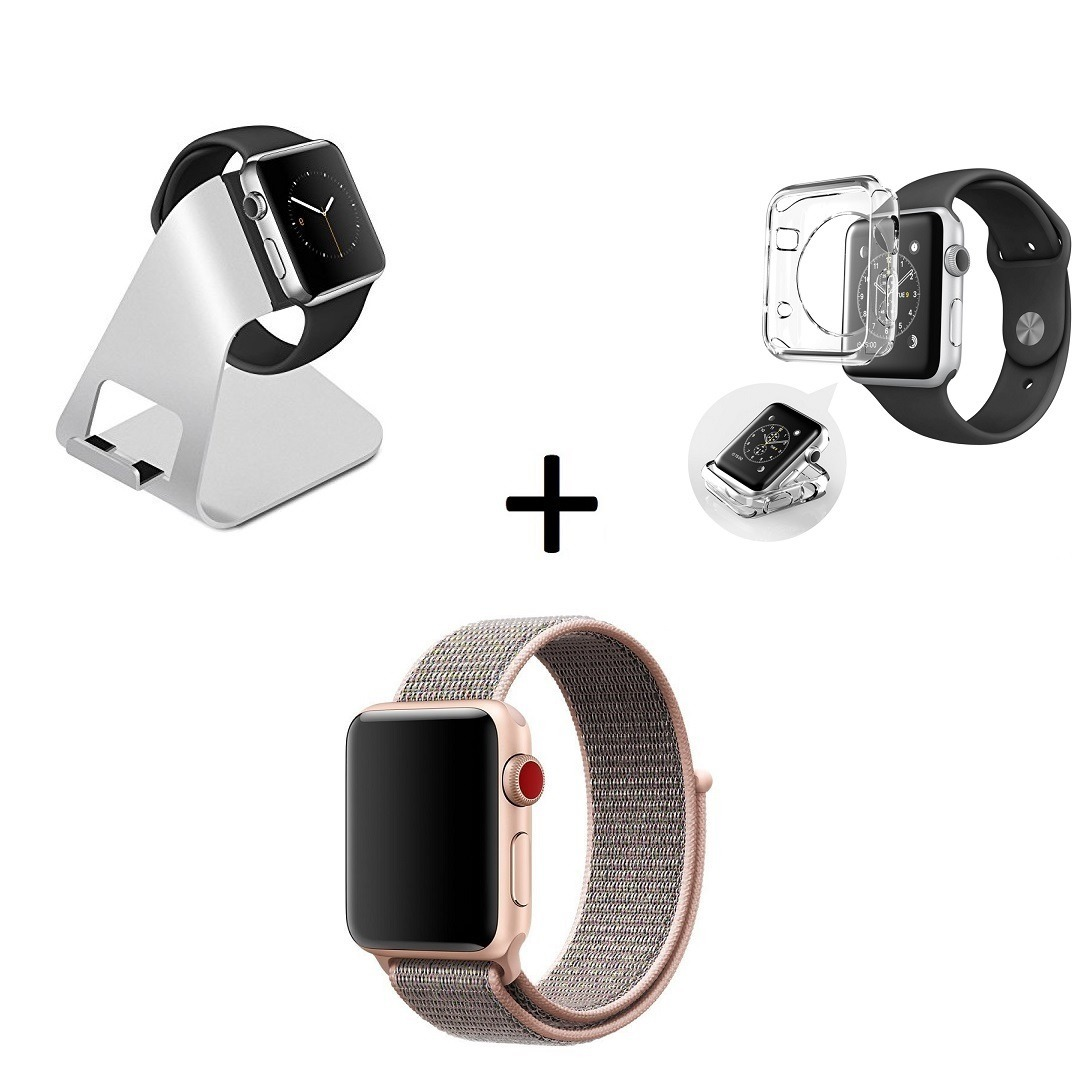 b7e4c1d51f6 base apple watch e iphone dock + pulseira nylon loop + case. Carregando zoom .