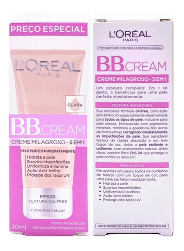 base bb cream 5 em 1 fps20 l'oréal paris - cor clara 30ml