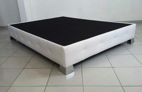 base blanca p cama moderna tapizada acolchada pata cromada