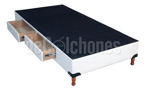 base box somier 1 1/2 cama con 2 cajones + inducol april 90