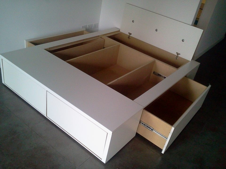 Base Box Somier Cama 2 Plazas Con 4 Cajones 2 Bauleras   $ 9.900