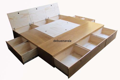 Base cama beta4 king size recamara minimalista cajones for Medidas recamara king size