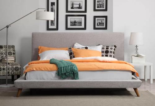 base cama california queen size tapizada - madera viva