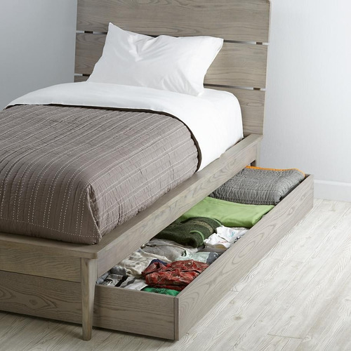Base cama doble caj n bajo madera individual madera viva - Cajon madera ikea ...