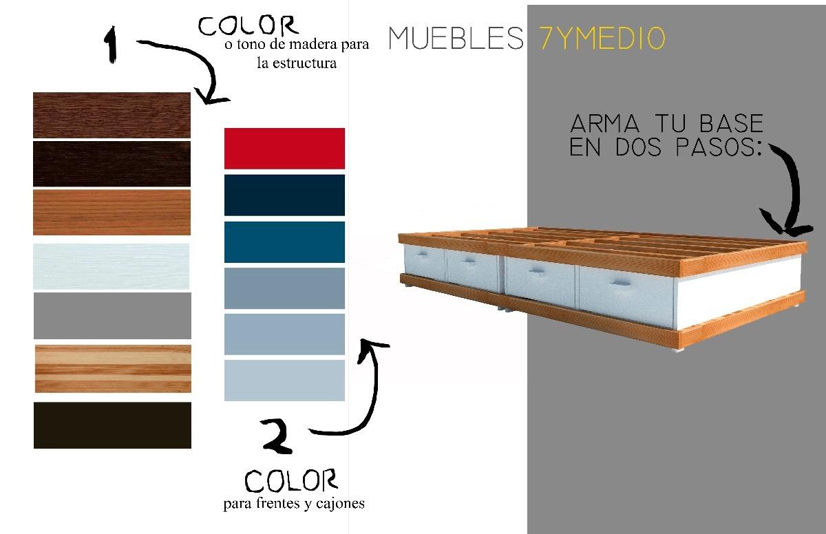 Base cama individual desmontable con cajones 3 en mercado libre - Cama individual con cajones ...