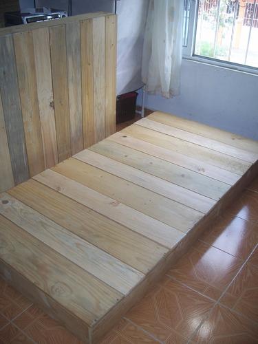 base cama individual estilo japones madera pino color natura