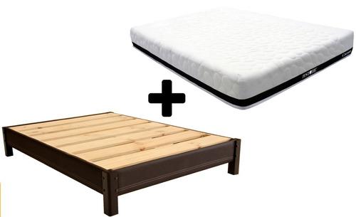 base cama king size tapizada  + colchón enrollable