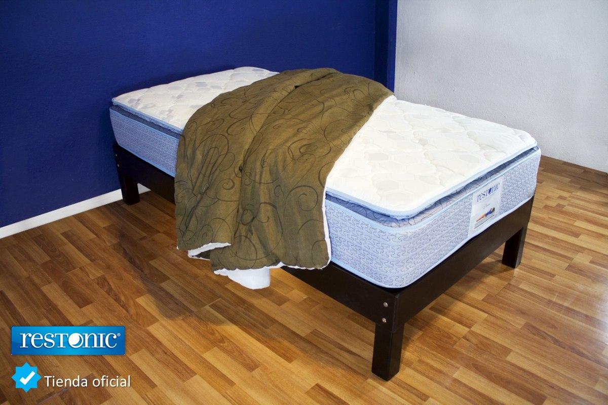 Base cama matrimonial de madera con colch n tienda for Cama matrimonial precio