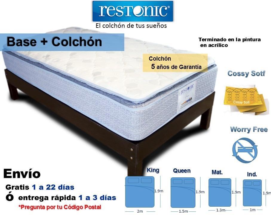 Base cama matrimonial de madera con colch n tienda for Medidas de colchon matrimonial