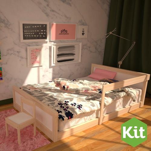 base cama matrimonial montessori, madera alamo con barandal