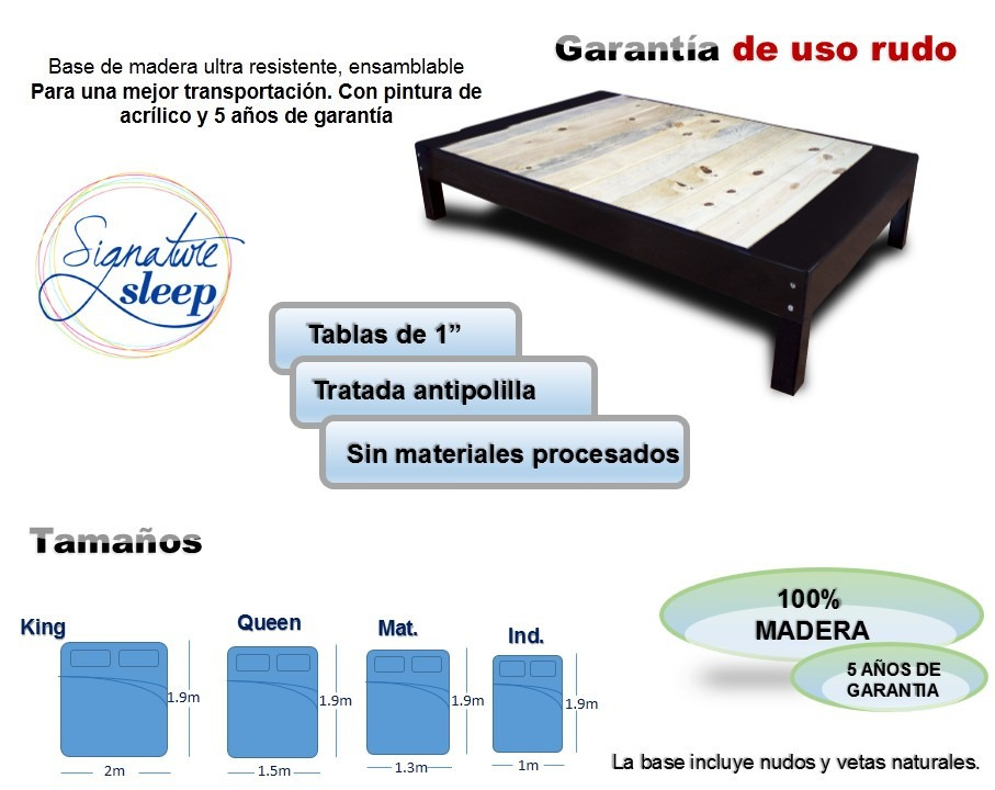 Base cama tipo box para recamara o cama individual en for Medidas de base de cama queen