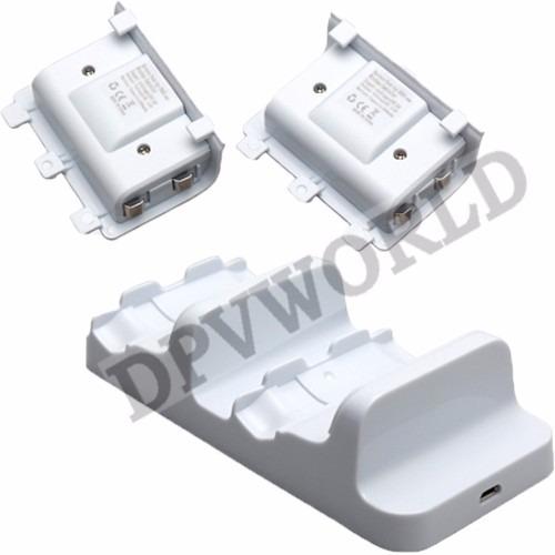 base carga controles xbox one slim + 2 baterias recargables