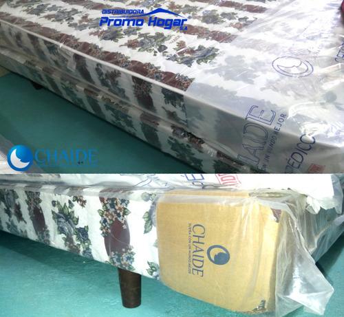base + colchón chaide 2 plazas + 2 almohada+ entrega domicil