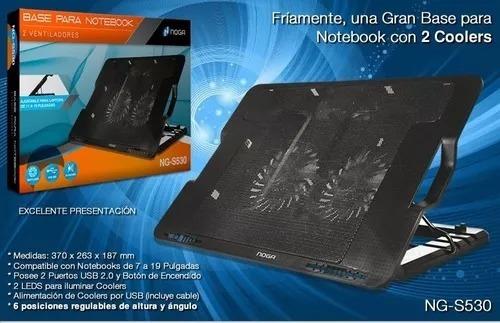 base con 2 cooler para notebook ng-s530 soporta 13 a 17