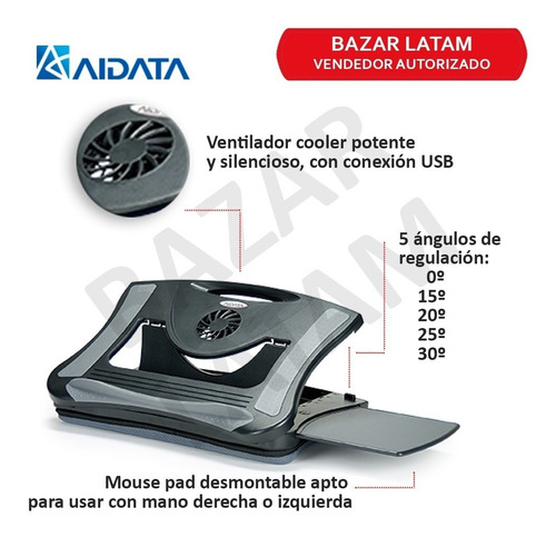 base cooler notebook +pad ergonomico altura ajustable aidata