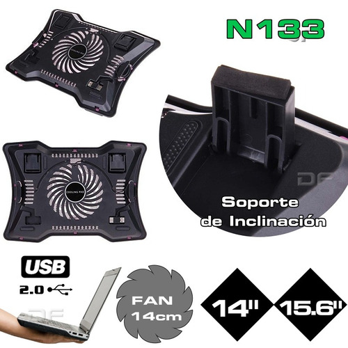 base cooler pad para notebook 14¨ /15.6  fan 14cm luminoso