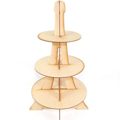 base cupcakes 3 pisos torre eiffel redonda mdf centro mesa
