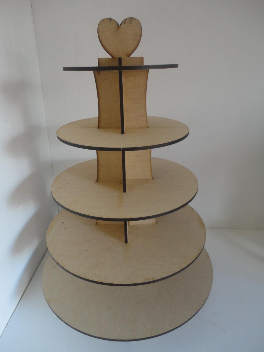 Base de 5 pisos para cupcakes muffins centro de mesa mdf for Bases para mesas de centro