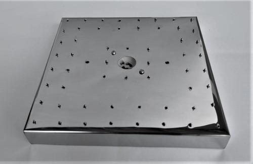 base de aço inox 20 cm quadrada montagem lustres 56 furos