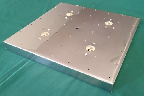 base de aço inox 30 cm quadrada montagem de lustres 49 furos