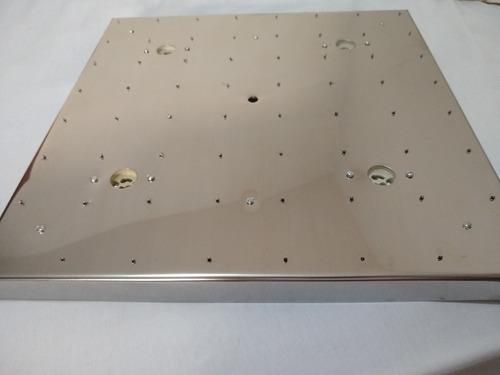 base de aço inox 40cm 64 furos montagem lustres