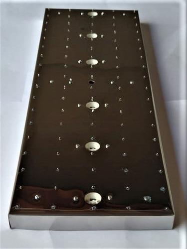 base de aço inox 66x22cm para montagem de lustres 90 furos